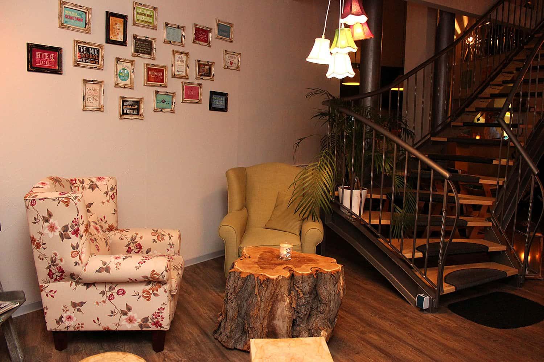 Gemütliche Sitzecke im GreenSoul - veganes Restautarant Leipzig